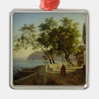 La terraza del Capucins en Sorrento, 1828 Adorno Cuadrado Plateado