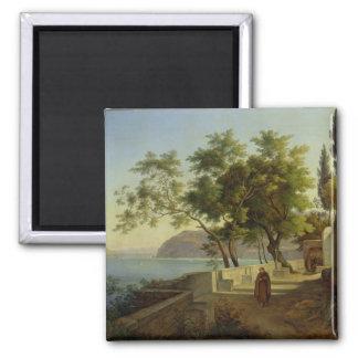 La terraza del Capucins en Sorrento, 1828 Imán Cuadrado