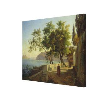 La terraza del Capucins en Sorrento, 1828 Impresión En Lona