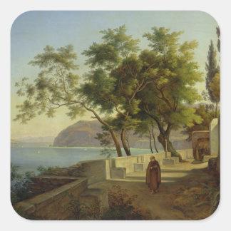 La terraza del Capucins en Sorrento, 1828 Pegatina Cuadrada