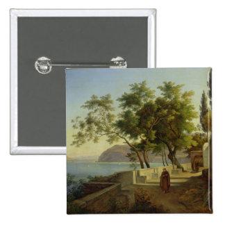 La terraza del Capucins en Sorrento, 1828 Pin Cuadrada 5 Cm