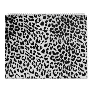 La textura del leopardo (negro y blanco) calendario de pared