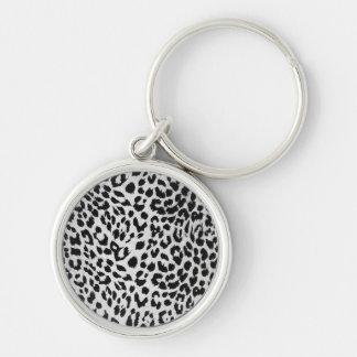 La textura del leopardo (negro y blanco) llavero personalizado