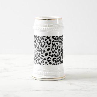 La textura del leopardo (negro y blanco) jarra de cerveza