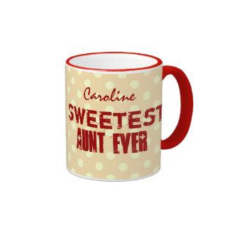 La tía más dulce Ever Custom Name Mug para ella Taza A Dos Colores