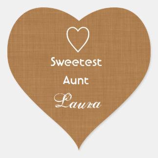 La tía más dulce Gold Linen Texture con el regalo Pegatina En Forma De Corazón
