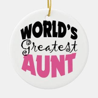 La tía más grande Christmas Ornament de los mundos Adorno Redondo De Cerámica