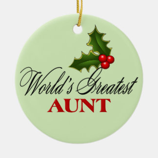 La tía más grande del mundo adorno navideño redondo de cerámica