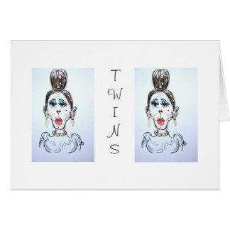 La tía Priscilla Twins Card de la serie de la fami Tarjetón