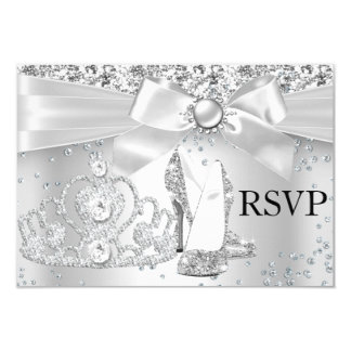 """La tiara de la chispa se inclina el dulce de plata invitación 3.5"""" x 5"""""""