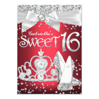 """La tiara de la chispa y el dulce 16 de los talones invitación 4.5"""" x 6.25"""""""