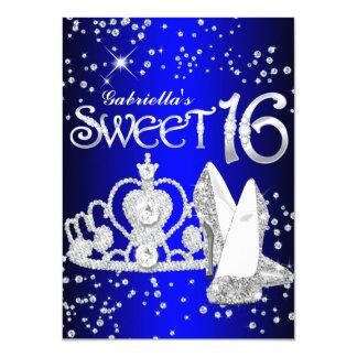 """La tiara del brillo del azul real y el dulce 16 de invitación 4.5"""" x 6.25"""""""