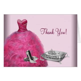 La tiara rosada de los tacones altos del vestido tarjeta pequeña