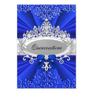 La tiara y el damasco azules Quinceanera invitan Invitación 8,9 X 12,7 Cm
