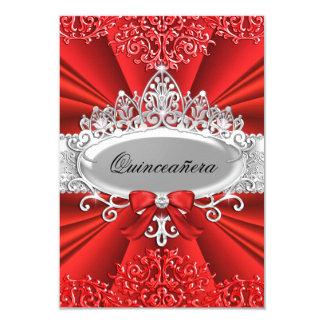 La tiara y el damasco rojos Quinceanera invitan Invitación 8,9 X 12,7 Cm