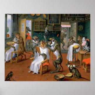 La tienda de peluquero con los monos y los gatos póster