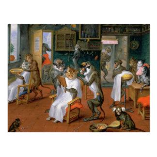 La tienda de peluquero con los monos y los gatos tarjetas postales