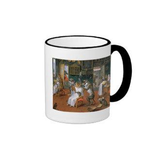 La tienda de peluquero con los monos y los gatos taza de café