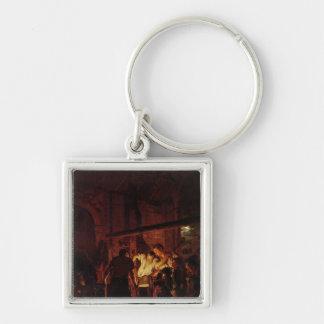 La tienda de un herrero, 1771 llavero cuadrado plateado