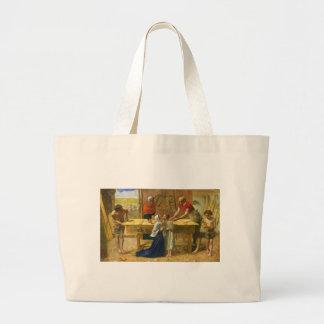 La tienda del carpintero de John Everett Millais Bolsa Tela Grande