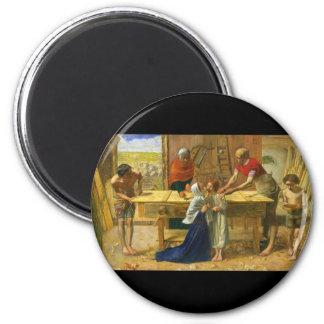 La tienda del carpintero de John Everett Millais Imán Redondo 5 Cm