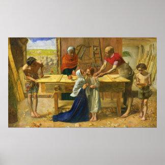 La tienda del carpintero de John Everett Millais Póster