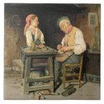 La tienda del zapatero, 1874 (aceite en el panel) teja  ceramica