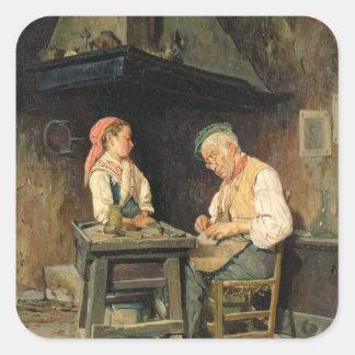 La tienda del zapatero, 1874 (aceite en el panel) colcomanias cuadradases
