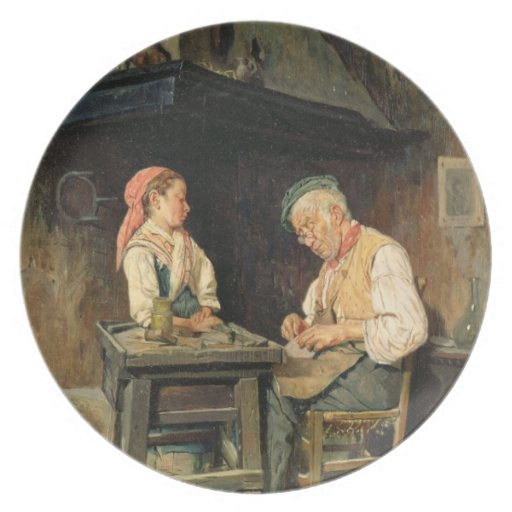 La tienda del zapatero, 1874 (aceite en el panel) platos de comidas