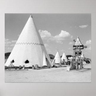 La tienda india Motel, 1940. Foto del vintage Póster
