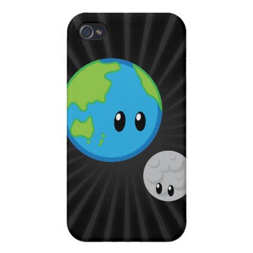 La tierra ama la luna linda iPhone 4/4S carcasa