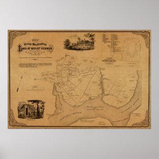 La tierra de 1859 Washington del mapa en el Monte  Póster