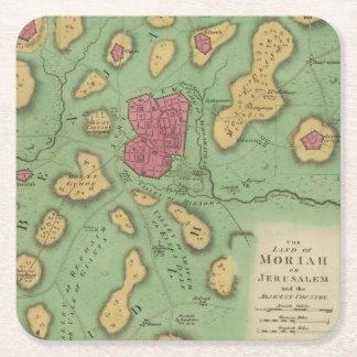 La tierra de Moriah o de Jerusalén Posavasos De Cartón Cuadrado