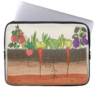 La tierra del suelo del huerto acoda la caja del mangas portátiles