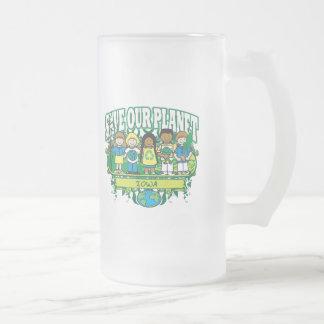 La tierra embroma Iowa Jarra De Cerveza Esmerilada