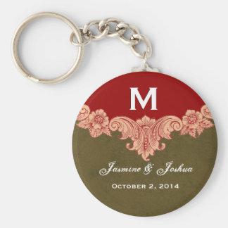 La tierra entona el boda adornado del monograma llavero redondo tipo pin
