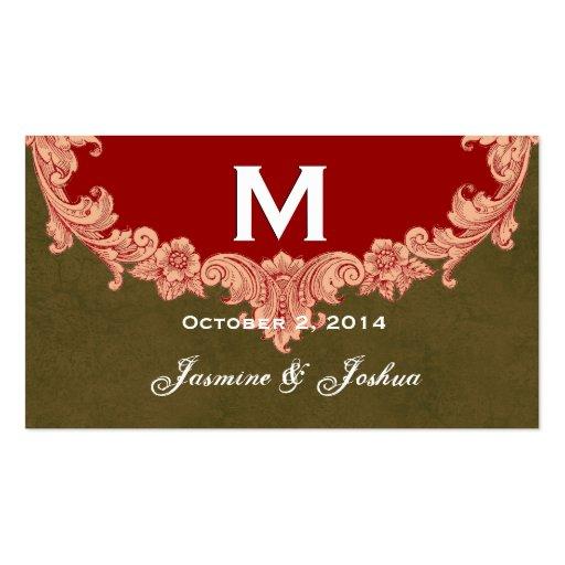 La tierra entona el boda adornado del monograma tarjetas de visita
