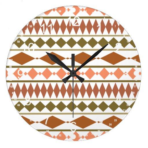 La tierra entona el modelo geométrico tribal reloj de pared