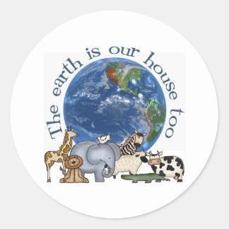 La tierra es nuestros pegatinas de la ecología de pegatina redonda