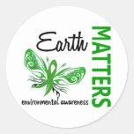 La tierra importa conciencia ambiental de la etiquetas redondas