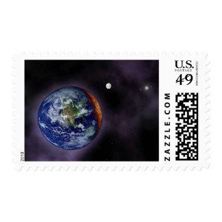 La tierra mostrada en los bordes externos timbre postal
