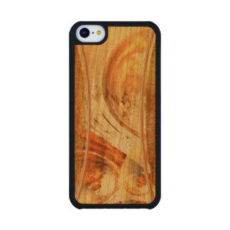 La tierra natural entona los casos de madera artsy funda de iPhone 5C slim cerezo
