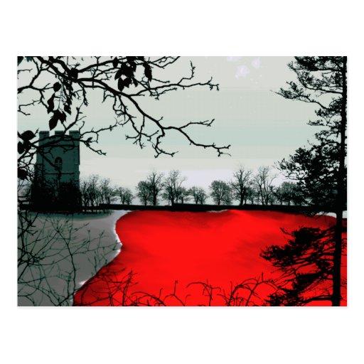 La tierra recuerda fantasía gótica del paisaje tarjeta postal