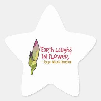 La tierra ríe en flor pegatinas forma de estrella personalizadas