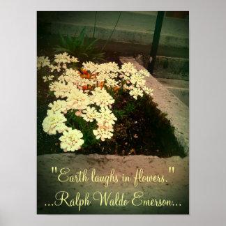 La tierra ríe en flores póster