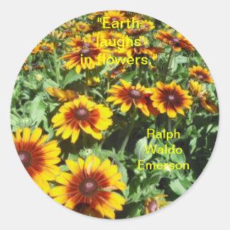 La tierra ríe en pegatina de las flores