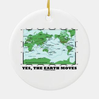 La tierra se mueve sí (los terremotos de la adorno navideño redondo de cerámica
