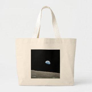 La tierra sube de la luna bolsa tela grande