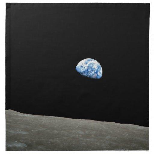 La tierra sube de la luna servilletas de papel