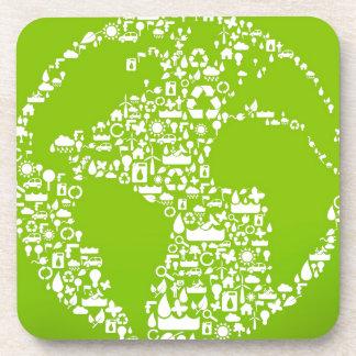 La tierra verde/recicla posavasos de bebidas